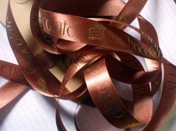 15mm light brown Printed Ribbon Chocolate-Chocolat